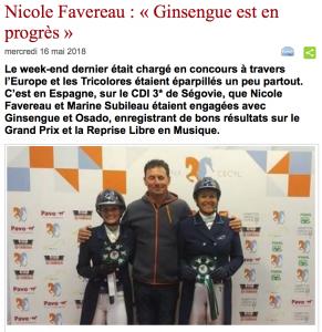 """Nicole Favereau : """"Ginsengue est en progrès"""""""